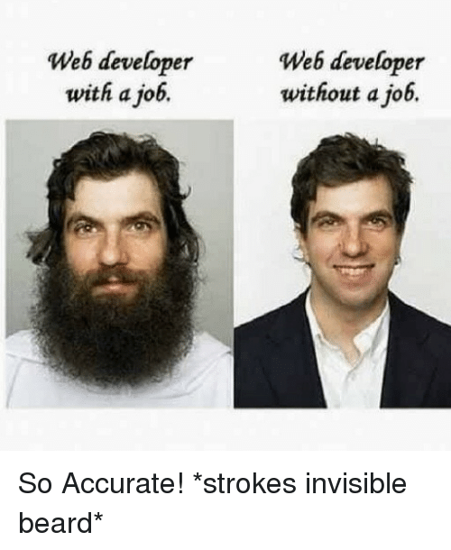 Web Developer: Web developer  with a job.  Web developer  without a job. So Accurate! *strokes invisible beard*