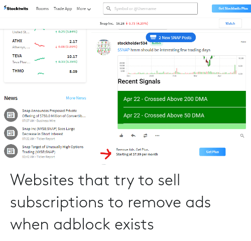 websites: Websites that try to sell subscriptions to remove ads when adblock exists