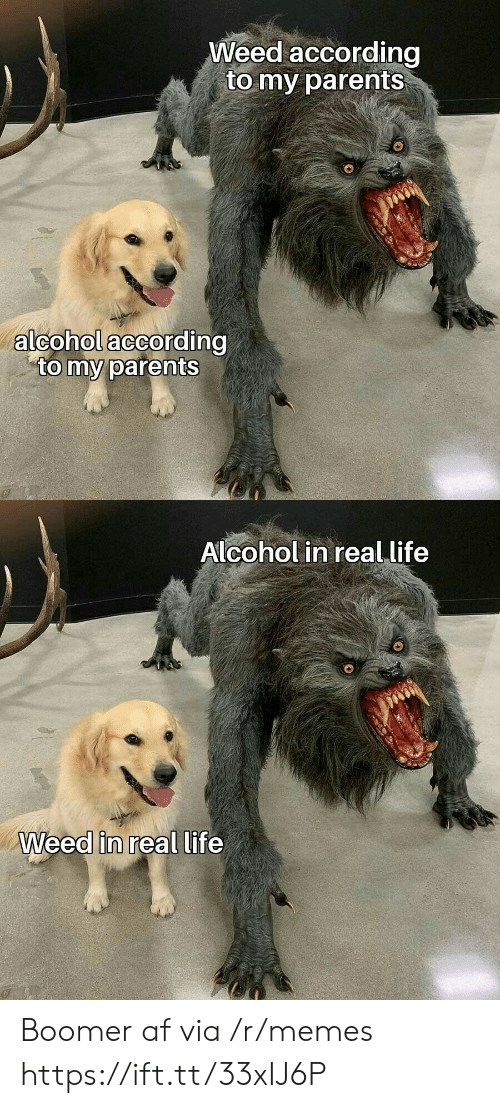 in-real-life: Weed according  to my parents  alcohol according  to my parents  Alcohol in real life  Weed in real life Boomer af via /r/memes https://ift.tt/33xIJ6P