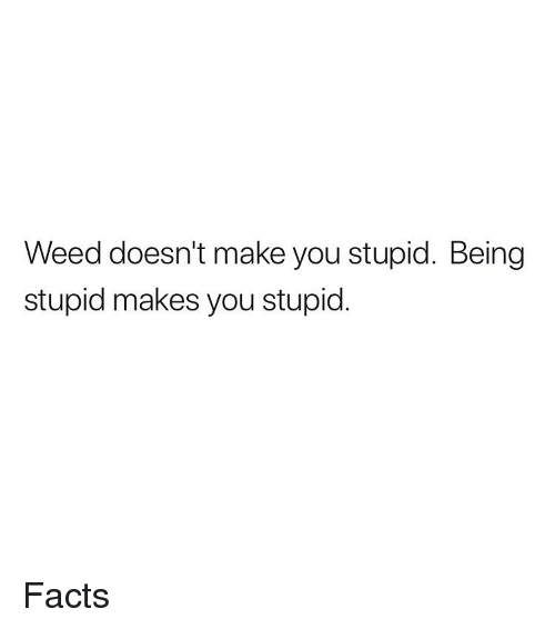 Facts, Weed, and Marijuana: Weed doesn't make you stupid. Being  stupid makes you stupid Facts