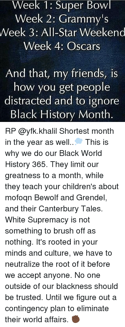all star weekend: Week 1: Super Bowl  Week 2: Grammy's  Week 3: All-Star Weekend  Week 4: Oscars  And that, my friends, is  how you get people  distracted and to ignore  Black History Month RP @yfk.khalil Shortest month in the year as well..💭 This is why we do our Black World History 365. They limit our greatness to a month, while they teach your children's about mofoqn Bewolf and Grendel, and their Canterbury Tales. White Supremacy is not something to brush off as nothing. It's rooted in your minds and culture, we have to neutralize the root of it before we accept anyone. No one outside of our blackness should be trusted. Until we figure out a contingency plan to eliminate their world affairs. ✊🏿