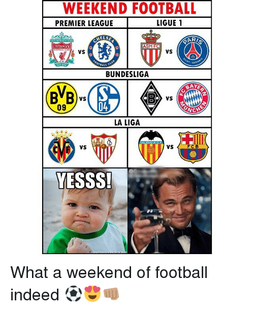 Football, Memes, and Premier League: WEEKEND FOOTBALL  PREMIER LEAGUE LIGUE 1  ELS  AR/  LIVERPOOL  ASM FC  VS  VS  BUNDESLIGA  BB  vs  09  04  LA LIGA  VS  VS  FCB  YESSS What a weekend of football indeed ⚽️😍👊🏽