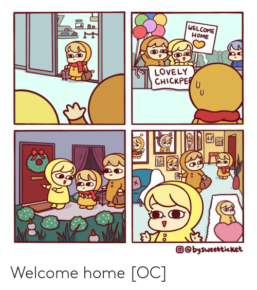 Home, Lovely, and  Welcome: WELCOME  НОМE  LOVELY  CHICKPE  O©bysweetticket Welcome home [OC]