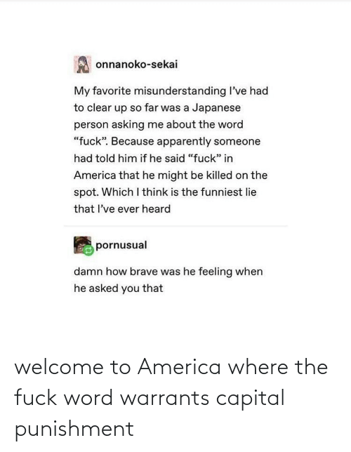 Welcome To: welcome to America where the fuck word warrants capital punishment