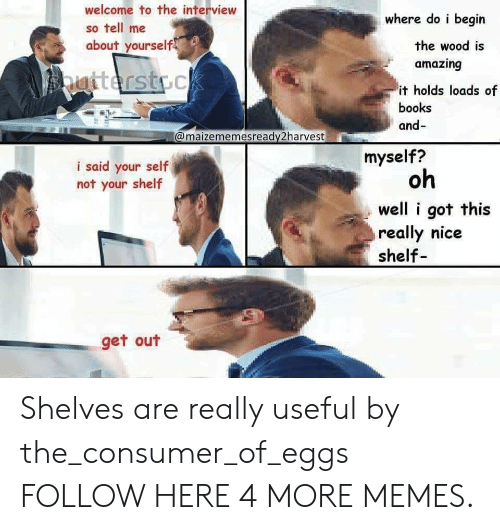 Books, Dank, and Memes: welcome to the interview  so tell me  about yourself  where do i begin  the wood is  amazing  it holds loads of  books  and-  @maizememesready2harvest  myself?  i said your self  not your shelf  oh  well i got this  really nice  shelf  get out Shelves are really useful by the_consumer_of_eggs FOLLOW HERE 4 MORE MEMES.