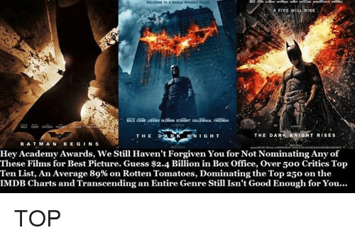 bat man: WELCOME TOA WORLD WITHOUTRULLE  A FIRE WILL RISE  THE RK KNIGHT RISES  DAR  THE  DAR K  KNIGHT  BAT MAN  BEGIN S  Hey Academy Awards, we still Haven't Forgiven You for Not Nominating Any of  These Films for Best Picture. Guess $2.4 Billion in Box Office, over 50o Critics Top  Ten List, An Average 89% on Rotten Tomatoes, Dominating the Top 250 on the  IMDB Charts and Transcending an Entire Genre Still Isn't Good Enough for You... TOP