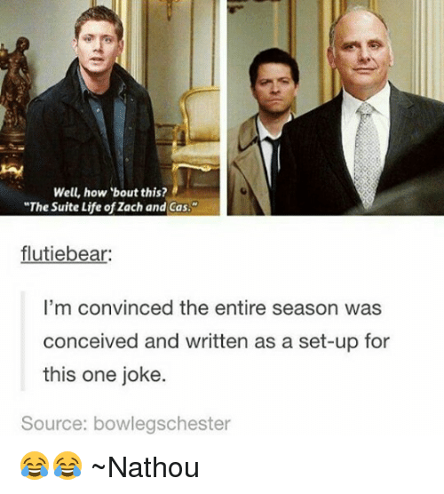 """Conceivment: Well, how bout this?  """"The Suite Life ofZach and Cas.  flutiebear:  I'm convinced the entire season was  conceived and written as a set-up for  this one joke.  Source: bowlegschester 😂😂 ~Nathouツ"""
