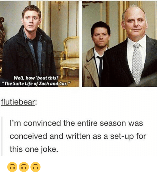 """Conceivment: Well, how 'bout this?  """"The Suite Life ofZach and Gas.  flutiebear:  I'm convinced the entire season was  conceived and written as a set-up for  this one joke. 🙃🙃🙃"""