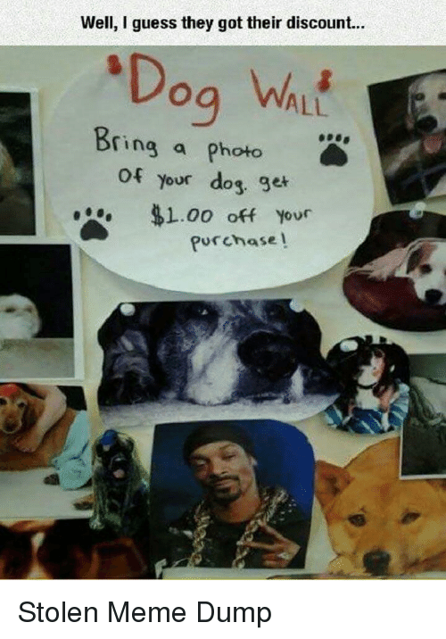 Meme, Guess, and Got: Well, I guess they got their discount...  ALL  ring a photo  of  your dog ge  . $1.00 off your  Purchase l Stolen Meme Dump
