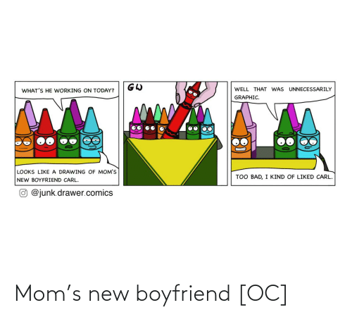 Moms: WELL THAT WAS UNNECESSARILY  WHAT'S HE WORKING ON TODAY?  GRAPHIC.  LOOKS LIKE A DRAWING OF MOM'S  TOO BAD, I KIND OF LIKED CARL.  NEW BOYFRIEND CARL.  O @junk.drawer.comics Mom's new boyfriend [OC]