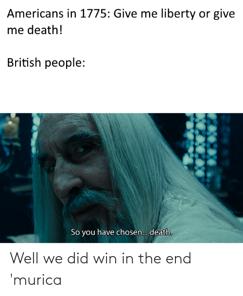 in the end: Well we did win in the end 'murica