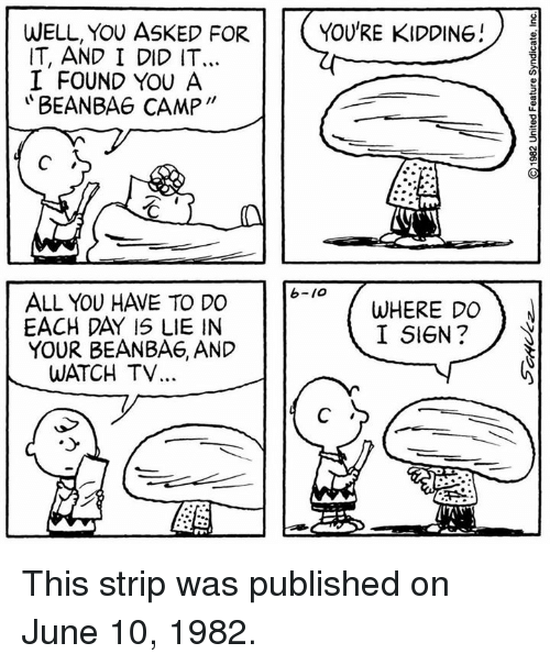 """Bean Bagged: WELL, YOU ASKED FOR  YOU'RE KIDDING!  IT, AND I DID IT...  I FOUND YOU A  BEAN BAG CAMP""""  ALL YOU HAVE TO DO  WHERE DO  N  I SIGN  YOUR BEAN BAE, AND  WATCH TV This strip was published on June 10, 1982."""