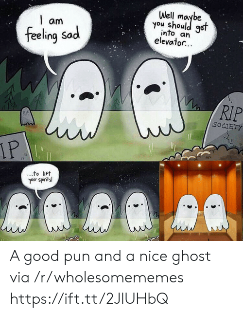 pun: Well  you shoule  get  am  into an  elevator...  feeling Sad  RIP  RIP  SOCIETY  IP  to lift  your spirits! A good pun and a nice ghost via /r/wholesomememes https://ift.tt/2JlUHbQ