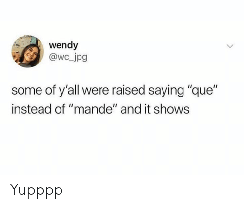 """wendy: wendy  @wc jpg  some of y'all were raised saying """"que""""  instead of """"mande"""" and it shows Yupppp"""