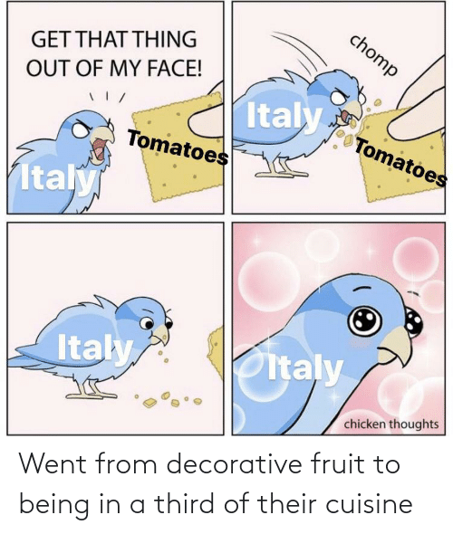 Third: Went from decorative fruit to being in a third of their cuisine