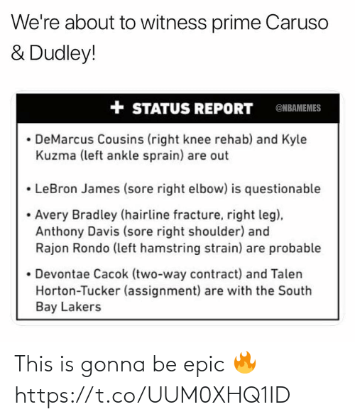 DeMarcus Cousins: We're about to witness prime Caruso  & Dudley!  + STATUS REPORT  @NBAMEMES  DeMarcus Cousins (right knee rehab) and Kyle  Kuzma (left ankle sprain) are out  • LeBron James (sore right elbow) is questionable  • Avery Bradley (hairline fracture, right leg),  Anthony Davis (sore right shoulder) and  Rajon Rondo (left hamstring strain) are probable  • Devontae Cacok (two-way contract) and Talen  Horton-Tucker (assignment) are with the South  Bay Lakers This is gonna be epic 🔥 https://t.co/UUM0XHQ1ID
