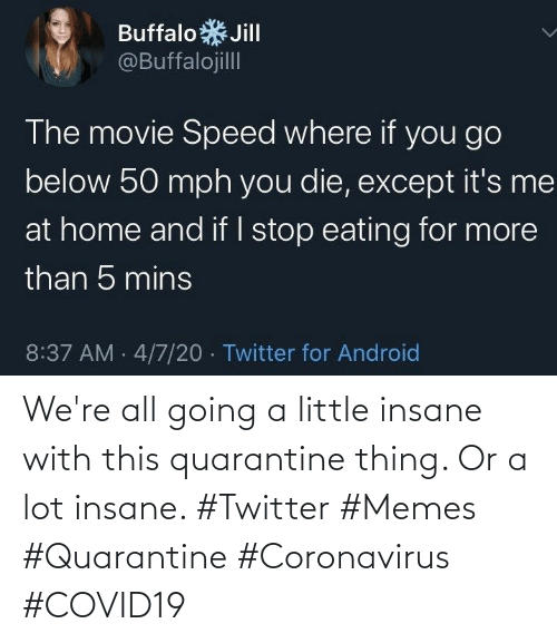 Twitter Memes: We're all going a little insane with this quarantine thing. Or a lot insane. #Twitter #Memes #Quarantine #Coronavirus #COVID19