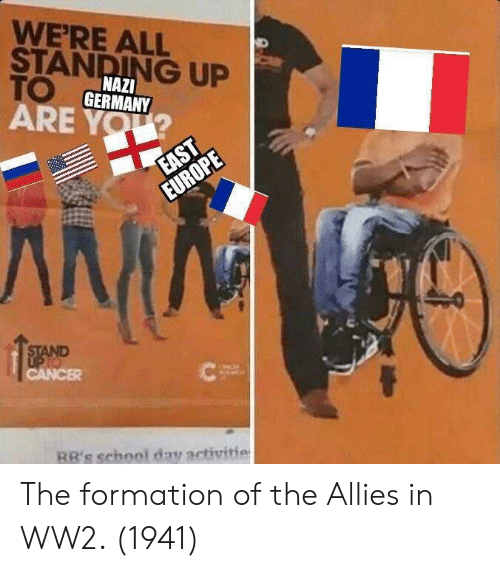 Formation: WERE ALL  STANDING UP  TO  ARE YOU  NAZI  GERMANY  RR's school day activitie The formation of the Allies in WW2. (1941)