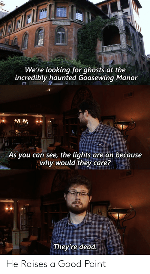 Good, Looking, and Ghosts: We're looking for ghosts at the  incredibly haunted Goosewing Manor  As you can see, the lights are on because  why would they care?  They're dead. He Raises a Good Point