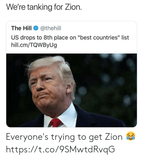 "Memes, Best, and 🤖: We're tanking for Zion.  The Hill@thehill  US drops to 8th place on ""best countries"" list  hill.cm/TQWByUg Everyone's trying to get Zion 😂 https://t.co/9SMwtdRvqG"