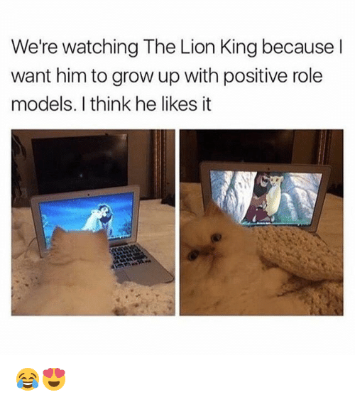 Memes, The Lion King, and Lion: We're watching The Lion King because l  want him to grow up with positive role  models. I think he likes it 😂😍