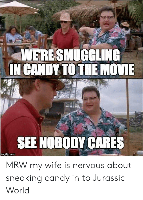 Jurassic World: WERESMUGGLING  IN CANDY TO THE NOVIE  SEE NOBODY CARES  imgfilip.com MRW my wife is nervous about sneaking candy in to Jurassic World