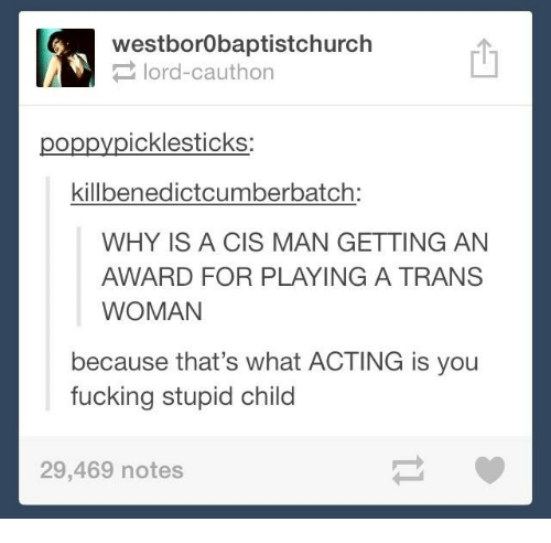 Poppies: westborobaptistchurch  lord Cauthon  poppy icklesticks  killbenedictcumberbatch:  WHY IS A CIS MAN GETTING AN  AWARD FOR PLAYING A TRANS  WOMAN  because that's what ACTING is you  fucking stupid child  29,469 notes