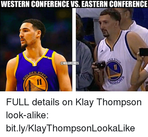 Klay Thompson, Nba, and Western: WESTERN CONFERENCE VS. EASTERN CONFERENCE  @NBAMEMES FULL details on Klay Thompson look-alike: bit.ly/KlayThompsonLookaLike