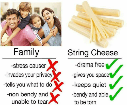 Family, Meme, and Free: @westin  meme  Family  -stress causer  -invades your privacy  -tells you what to do  -non bendy and  String Cheese  -drama free  -gives you space  -keeps quiet  -bendy and able  to be torn  unable to tear