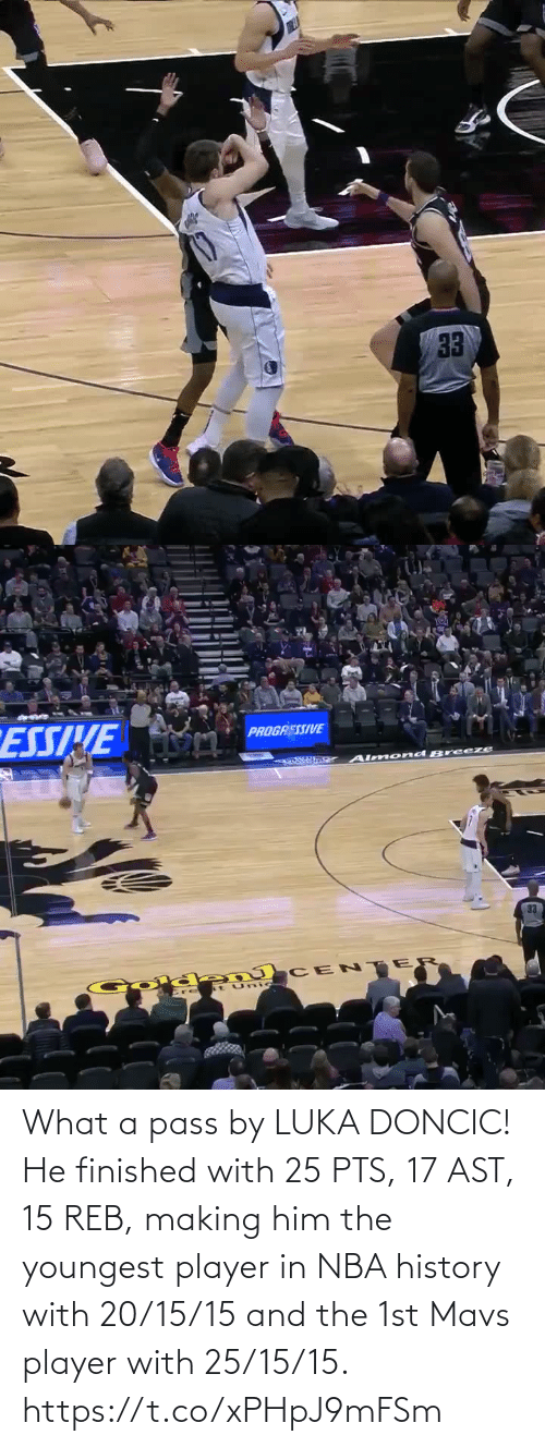 With: What a pass by LUKA DONCIC!   He finished with 25 PTS, 17 AST, 15 REB, making him the youngest player in NBA history with 20/15/15 and the 1st Mavs player with 25/15/15.    https://t.co/xPHpJ9mFSm