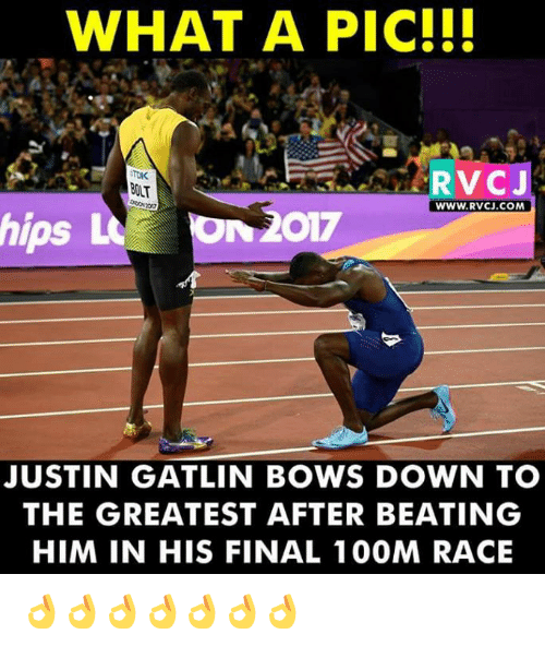 Bolting: WHAT A PIC!!!  RVCJ  BOLT  WWW.RVCJ.COM  hips L  N2017  JUSTIN GATLIN BOWS DOWN TO  THE GREATEST AFTER BEATING  HIM IN HIS FINAL 1 00M RACE 👌👌👌👌👌👌👌