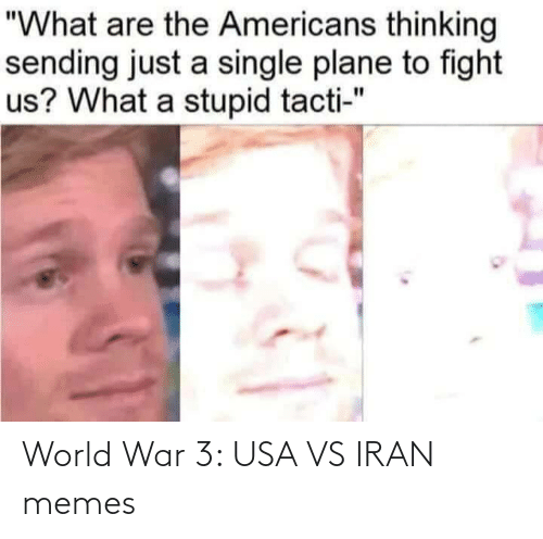 "Just A: ""What are the Americans thinking  sending just a single plane to fight  us? What a stupid tacti-"" World War 3: USA VS IRAN memes"