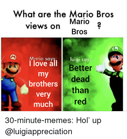 the mario: What are the Mario Bros  Mario 2  Bros  views on  Mario say  1 love all B  luigi says  Better  brothers dead  very  much  than  red 30-minute-memes:  Hol' up  @luigiappreciation