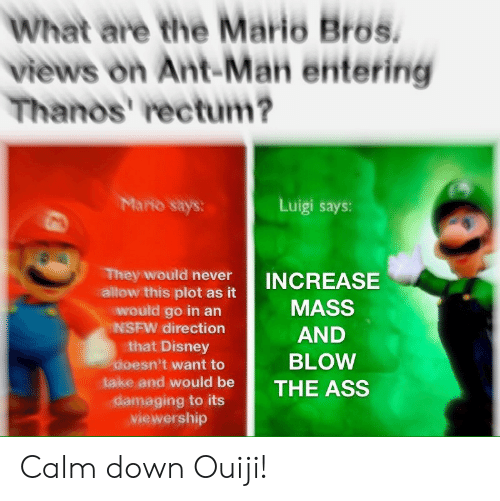 the mario: What are the Mario Bros.  views on Ant-Man entering  Thanos' rectum?  Mario says:  Luigi says:  They would never  allow this plot as it  would go in an  NSFW direction  that Disney  doesn't want to  INCREASE  MASS  AND  BLOW  take and would be THE ASS  viewership Calm down Ouiji!