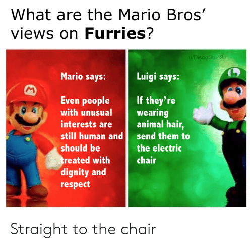 dignity: What are the Mario Bros'  views on Furries?  u/DiscoStu42  Mario says:  Luigi says:  M  Even people  If they're  wearing  animal hair,  with unusual  interests are  still human and  send them to  should be  the electric  treated with  dignity and  respect  chair Straight to the chair