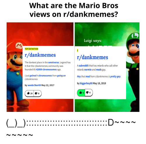 What Are The Mario Bros Views On Rdankmemes Luigi Says Top