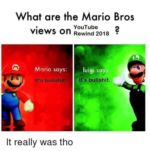 the mario: What are the Mario Bros  views on Rewind 2018  YouTube2  Mario says: luigi says  It's bullshit.  It's bullshit. It really was tho