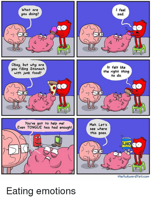 Mehs: What are  you doing?  Okay, but why are  you filling Stomach  with junk food?  you've got to help me!  Even TONGUE has had enough!  I feel  sad.  It felt like  the right thing  to do.  Meh. Let's  see where  this goes.  the Awkward yeti.com Eating emotions