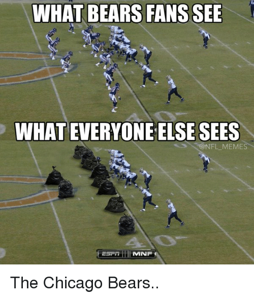 Chicago Bear: WHAT BEARS FANS SEE  WHATEVERYONE ELSE SEES  @NFL MEMES  MNF The Chicago Bears..
