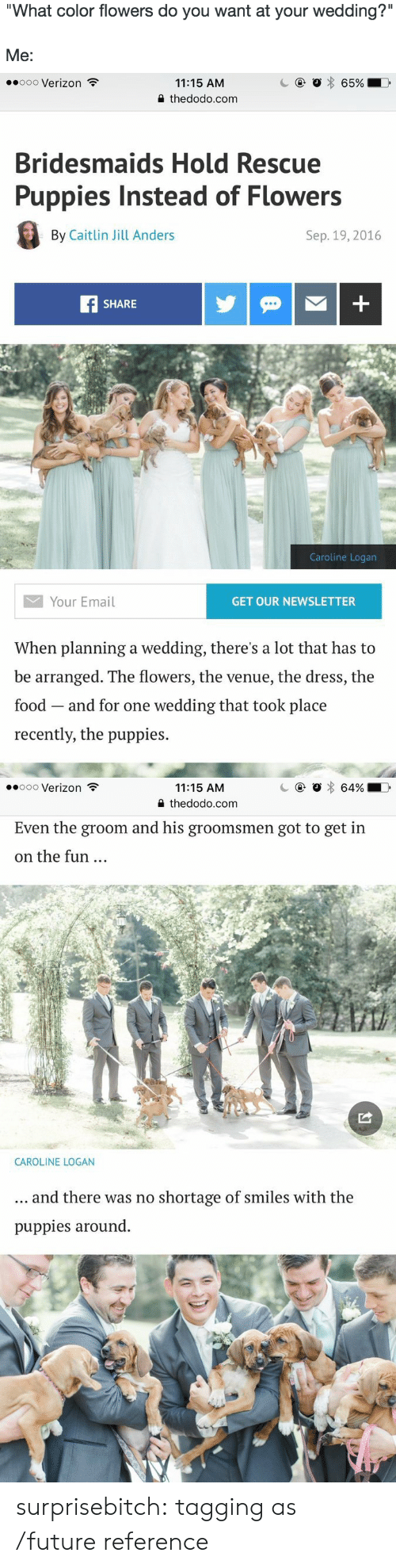 "Groomsmen: What color flowers do you want at your wedding?'""  Me:   .0o00 Verizon  11:15 AM  2 thedodo.com  Bridesmaids Hold Rescue  Puppies Instead of Flowers  By Caitlin Jill Anders  Sep. 19, 2016  SHARE  Caroline Logan  Your Email  GET OUR NEWSLETTER  When planning a wedding, there's a lot that has to  be arranged. The flowers, the venue, the dress, the  food and for one wedding that took place  recently, the puppies.   11:15 AM  0 thedodo.com  .ooo Verizon  Even the groom and his groomsmen got to get in  on the fun  CAROLINE LOGAN  and there was no shortage of smiles with the  puppies around. surprisebitch:  tagging as /future reference"