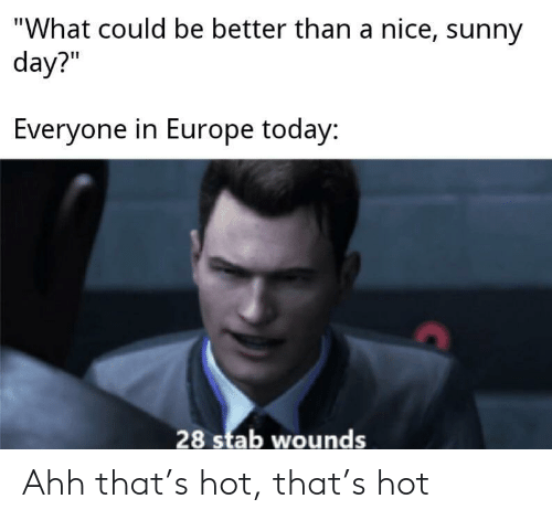 "sunny: ""What could be better than a nice, sunny  day?""  Everyone in Europe today:  28 stab wounds Ahh that's hot, that's hot"