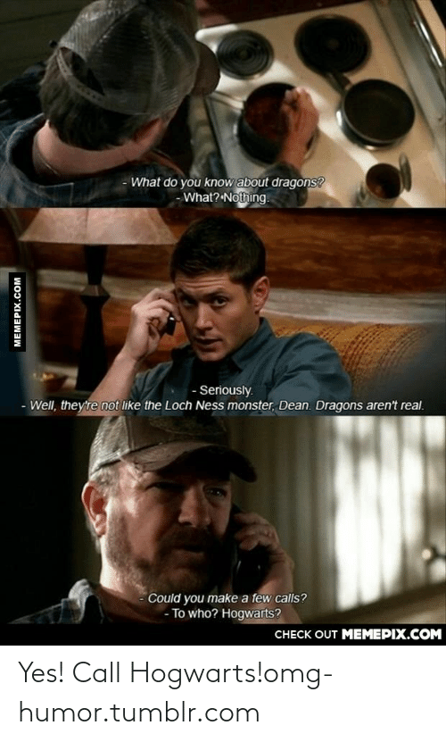 What Do You Know: - What do you know about dragons?  - What? Nothing.  - Seriously.  - Well, they're not like the Loch Ness monster, Dean. Dragons aren't real.  Could you make a few calls?  - To who? Hogwarts?  CHECK OUT MEMEPIX.COM  MEMEPIX.COM Yes! Call Hogwarts!omg-humor.tumblr.com
