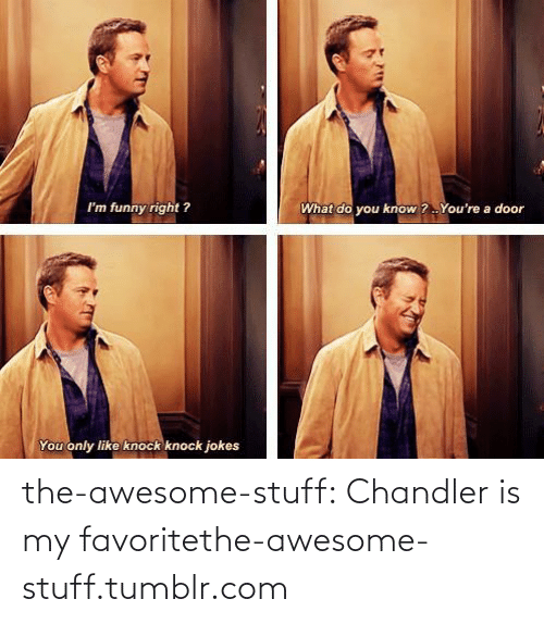 What Do You Know: What do you know ? . You're a door  I'm funny right ?  You only like knock knock jokes the-awesome-stuff:  Chandler is my favoritethe-awesome-stuff.tumblr.com