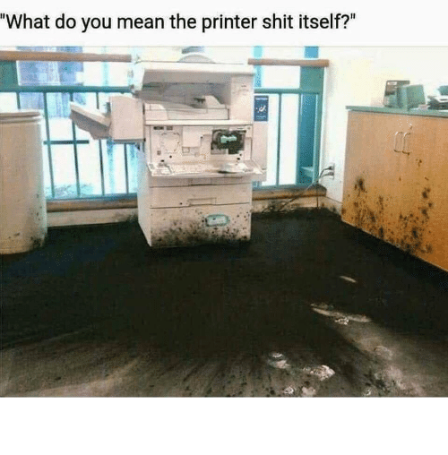 "Shit, Mean, and Printer: ""What do you mean the printer shit itself?"" The printer did WHAT?!"