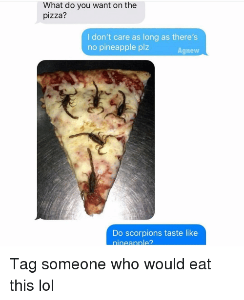 Funny, Lol, and Pizza: What do you want on the  pizza?  I don't care as long as there's  no pineapple plz  Agnew  Do scorpions taste like  ineannle? Tag someone who would eat this lol