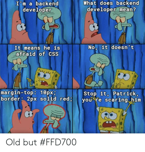 Mean, What Does, and Old: What does backend  developer mean?  I'm a backend  developer  No, it doesn't  It means he is  afraid of CSS  margin-top: 10px;  border: 2px solid red;  Stop it, Patrick,  you re scaring him Old but #FFD700