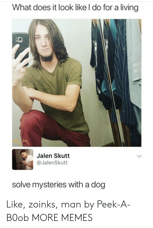 Dank, Memes, and Target: What does it look like l do for a living  Jalen Skutt  @JalenSkutt  solve mysteries with a dog Like, zoinks, man by Peek-A-B0ob MORE MEMES