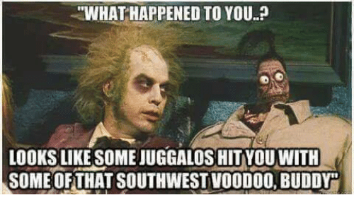 "Memes, Southwest, and 🤖: ""WHAT HAPPENED TO YOU.?  LOOKS LIKE SOME JUGGALOS HIT YOU WITH  SOME OF THAT SOUTHWEST VOODOO,BUDDY"