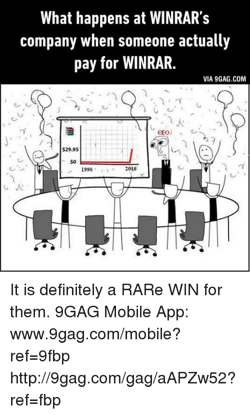 Www 9Gag: What happens at WINRAR's  company when someone actually  pay for WINRAR.  VIA 9GAG.COM  CEO  $29.95  $0  2016  1990 It is definitely a RARe WIN for them. 9GAG Mobile App: www.9gag.com/mobile?ref=9fbp  http://9gag.com/gag/aAPZw52?ref=fbp