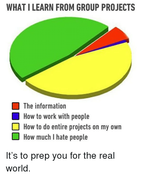 i hate people: WHAT I LEARN FROM GROUP PROJECTS  The information  How to work with people  How to do entire projects on my own  OHow much I hate people It's to prep you for the real world.